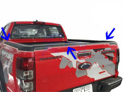 3pcs Tailgate Tail Gate Matte Black Rear Protector For Ford Ranger Raptor 2019