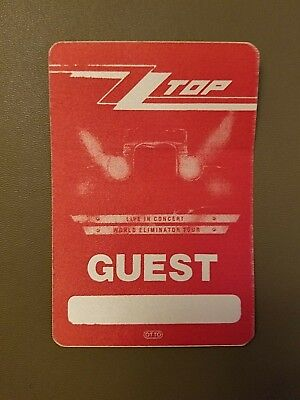 """Zz Top Local Backstage Guest Pass For """"World Eliminator Tour"""""""