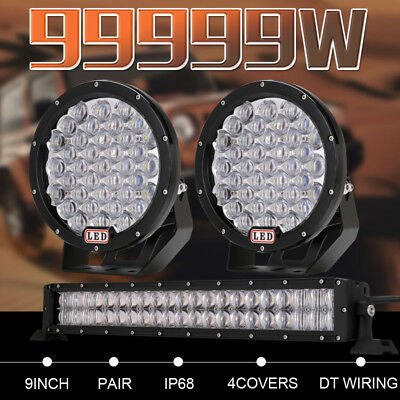 "99999W Pair 9inch LED Driving Lights Spotlights 20"" Combo Work Light Bar Offroad"