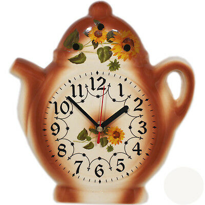 Wall Clock for the Kitchen - Ceramic - Country House Style with Sunflowers