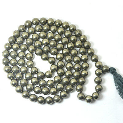Pyrite 8mm Mala / Necklace Crystal Natural Stone by Reiki Crystal Products