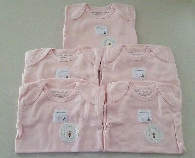 NWT Burt's Bees Infant 24 MONTHS Organic Cotton PINK Bodysuits 5-PACK