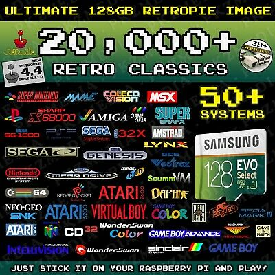 Ultimate 128GB Retropie microSD - 20,000+ Games 50+ Systems Preloaded Pi 3B/3B+