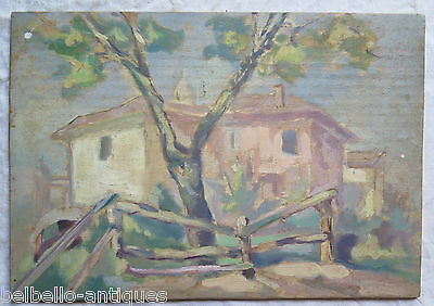 PAINTING ANTIQUE OIL ON BOARD painting VINTAGE LANDSCAPE COUNTRYSIDE ORIGINAL p9