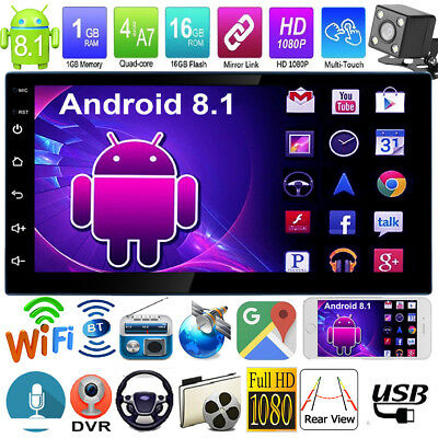 """7"""" Double 2Din Quad Core Android 8.1 GPS Navi Car Stereo MP5 Player FM Radio Cam"""