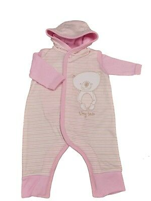 BNWT Tiny baby Premature Preemie hooded 2 piece teddy romper  in pink or blue