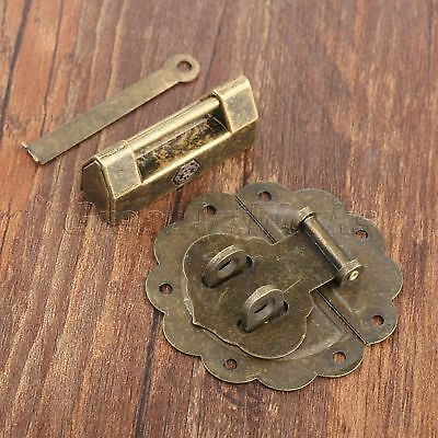 Unique Bronze Decorative Padlock & Wooden Chest Jewelry Box Latch Hasp Catch Set