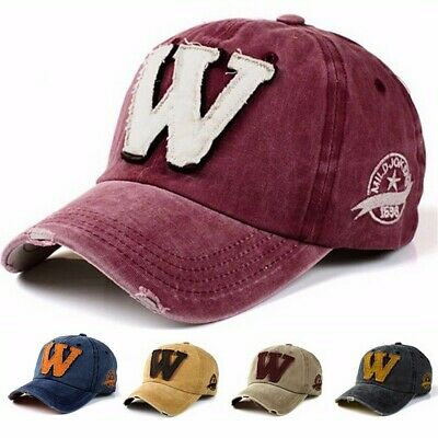 Letter W Embroidery Denim Washed Baseball Cap Vintage Adjustable Snapback Hat