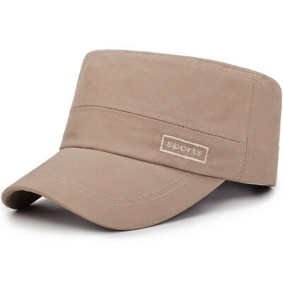 Middle-Aged Mens Cotton Flat Top Hats Casual Outdoor Sunscreen Military Army Cap