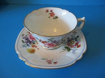 Royal Crown Derby Cup & Saucer  White With Small Flowers Excellent Condition
