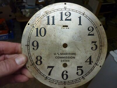 "Good Antique - Old Seth Thomas Ships ?  Clock 6"" Dial & Falseplate"