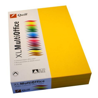 Quill Coloured Paper 80gsm A4 Sunshine 500 Sheet Ream