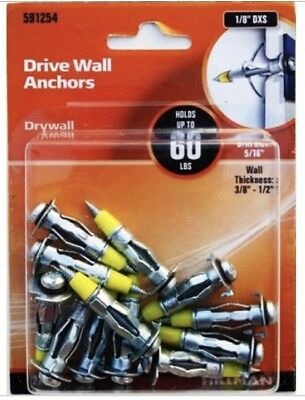 NEW! 3 The Hillman Group 1/8 DXS Drive Wall Anchor, 12 Each Pack (36 Total)