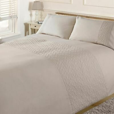 Brentfords Pinsonic Wave Duvet Cover with Pillow Case Bedding Set, Cream Ivory
