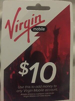 VIRGIN MOBILE $10 Top-Up Prepaid Refill Card, Mail Delivery