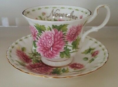 Royal Albert Cup And Saucer Set Flower Of The Month November Pink Chrysanthemum