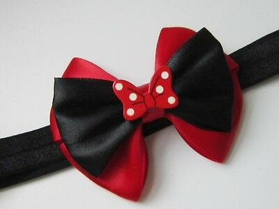 Baby Girl Headband Hair Band Bow Disney Minnie Mouse Inspired Cartoon Kids Party