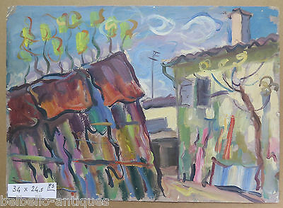 PAINTING MDOERNO VINTAGE 1960 OIL ON BOARD LANDSCAPE VIEW BORGO COUNTRYSIDE p3