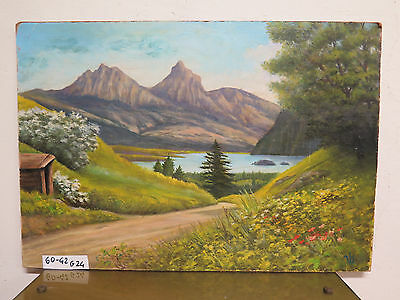Painting Antique Oil On Board Signed Landscape Alpen Dolomites In Summer G24