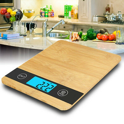 Wooden Bamboo Digital Kitchen Scale HD LCD Display Electronic Weight Measuring
