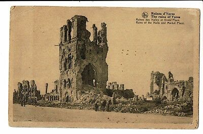 CPA-Carte postale - BELGIQUE - Ieper - Ruins of the halls and Market Place