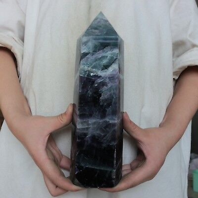 """6.97LB 9.8"""" Natural Rainbow Fluorite Quartz Crystal Point Tower Polished Healing"""