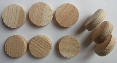 OAK SOLID WOOD Flat Head Plug / Curved for 25mm Hole Wooden Button Caps Cover