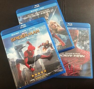 3 BLU RAY SET - Amazing Spider-Man 1 AND 2 and Homecoming! Collection, Like NEW!