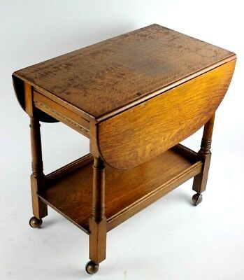 Vintage Oak Drop Leaf Butler Buffet Tea Trolley - FREE Shipping  [PL4856]