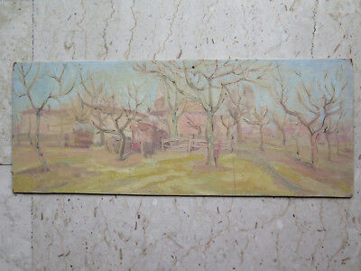 23 3/16x9 3/8in PAINTING OIL ON BOARD VINTAGE LANDSCAPE VIEW COUNTRYSIDE P21