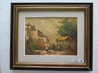 PAINTING VINTAGE painting OIL ON BOARD SIGNED GARCIA LANDSCAPE COUNTRYSIDE c4
