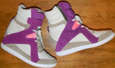 Reebok Alicia Keys Suede Wedge High Heel Tan   Purple Athletic Women s Size  7 e463a32c1