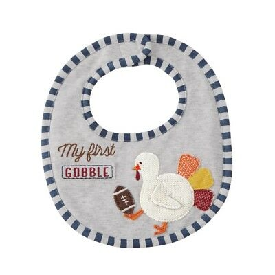 Mud Pie H7 Thanksgiving Baby Boy Turkey Football My First Gobble Bib 1552325