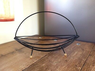 Retro Mid Century Black Wire Fruit Bowl Basket Canoe Atomic Sputnik Ball Feet