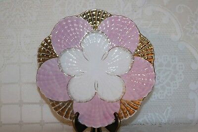 Unknown Maker Round Flower Sea Shell 10 3/4 Dinner Serving Plate Pink Gold White