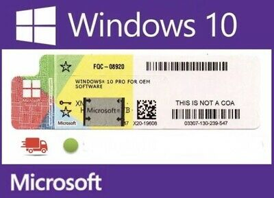 10 X Microsoft Windows 10 Pro/ Professional 32/64 BIT Sticker Coa