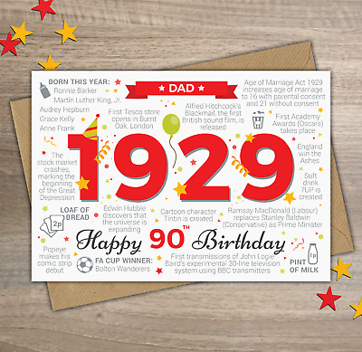 1929 DAD Happy 90th Birthday Greetings Card Memories Year Of Birth Facts Red