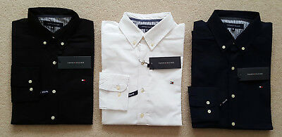 Mens Tommy Hilfiger Long Sleeve Slim Fit Shirt - Navy Black White