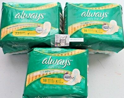 Always Ultra Thin Pads Regular Flexi-Wings Asorbs 60%,18 ea (3 packages)