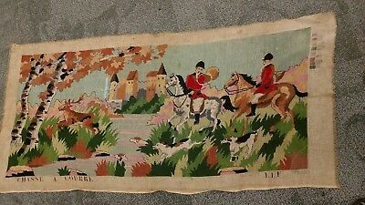 Large Vtg Needlepoint CHASSE A COURRE Partially Completed 40 x 18 FS The Hunt