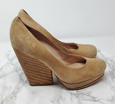 f5b6b72e90a 7 FOR ALL Mankind 7FAM Tan Brown Suede Platform Pumps Heels Size 6.5M