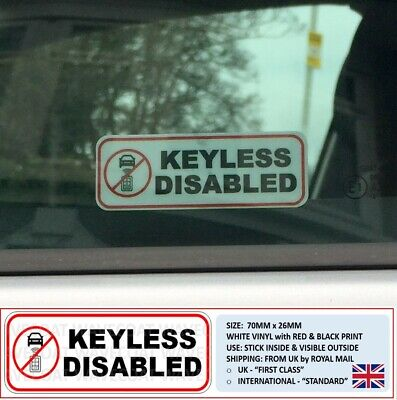 "2 ""Keyless Disabled"" Window Stickers Vehicle Relay Hack Theft Faraday Bag Entry"