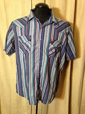 Mens Vtg 1970s Ely Plains Western Shirt XL Blue Striped Short Sleeve poly/cotton