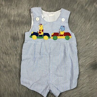Vintage Baby Boys Blue White Striped Seersucker Giraffe Bear Romper