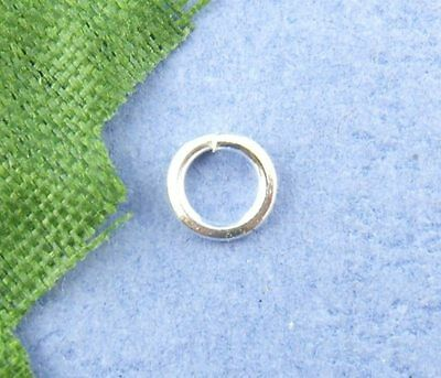 Doreen Box Lovely 1500PCs Silver color Open Jump Ring 4mm in Dia. (B00491)