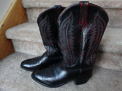 22bfe0e479f LUCCHESE 2000 BLACK CHERRY KANGAROO LEATHER R TOE COWBOY BOOTS T3012R4 Mens  11 D