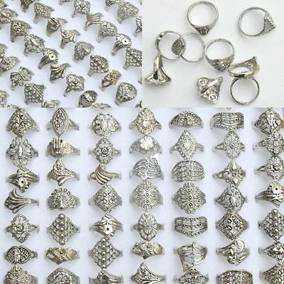 20Pcs Vintage Tibet Flower Silver Rings Wholesale Mixed Lots Costume Jewelry