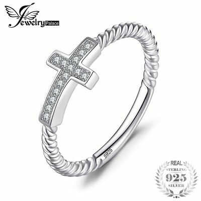a79ad8dd8 JewelryPalace Cross Round Cubic Zirconia Peace Statement Ring For Women  Jewelry