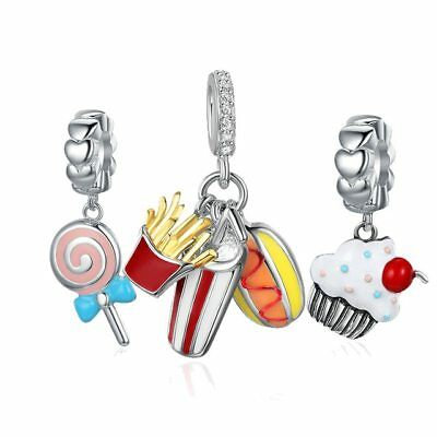 8f08cb305 Christmas Gift 925 Sterling Silver Charm Food Temptation Sweet Cake candy  Dangle