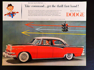 Vtg 1955 Dodge Red Royal Lancer car auto automobile advertisement print ad art